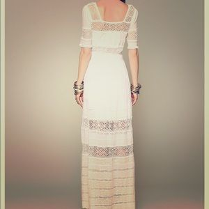 Free people mixed crochet maxi white dress